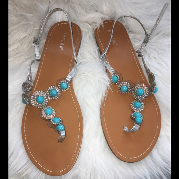137ea859d BAMBOO Shoes - Bamboo Silver   Turquoise Jeweled Sandals Sz 10